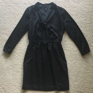 Ann Taylor Factory Black Pussy Bow Dress, sz SP